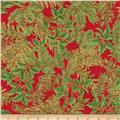 Kaufman Holiday Flourish Metallic Spray Crimson