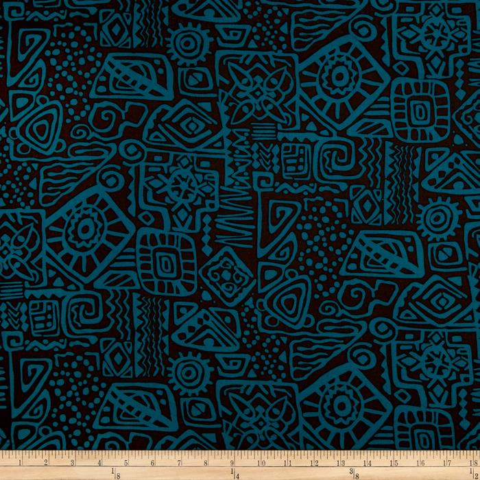 Cotton Rayon Challis Hieroglyphics Sea
