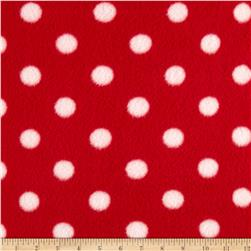 Fleece Print Polka Dots Red/White