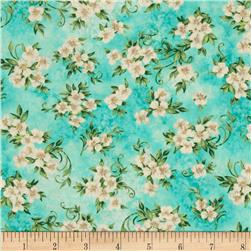 Timeless Treasures Jewel of the Garden Floral Aqua