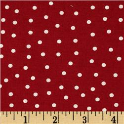 Sweetie Pie Snowmen Polka Dots Red Fabric