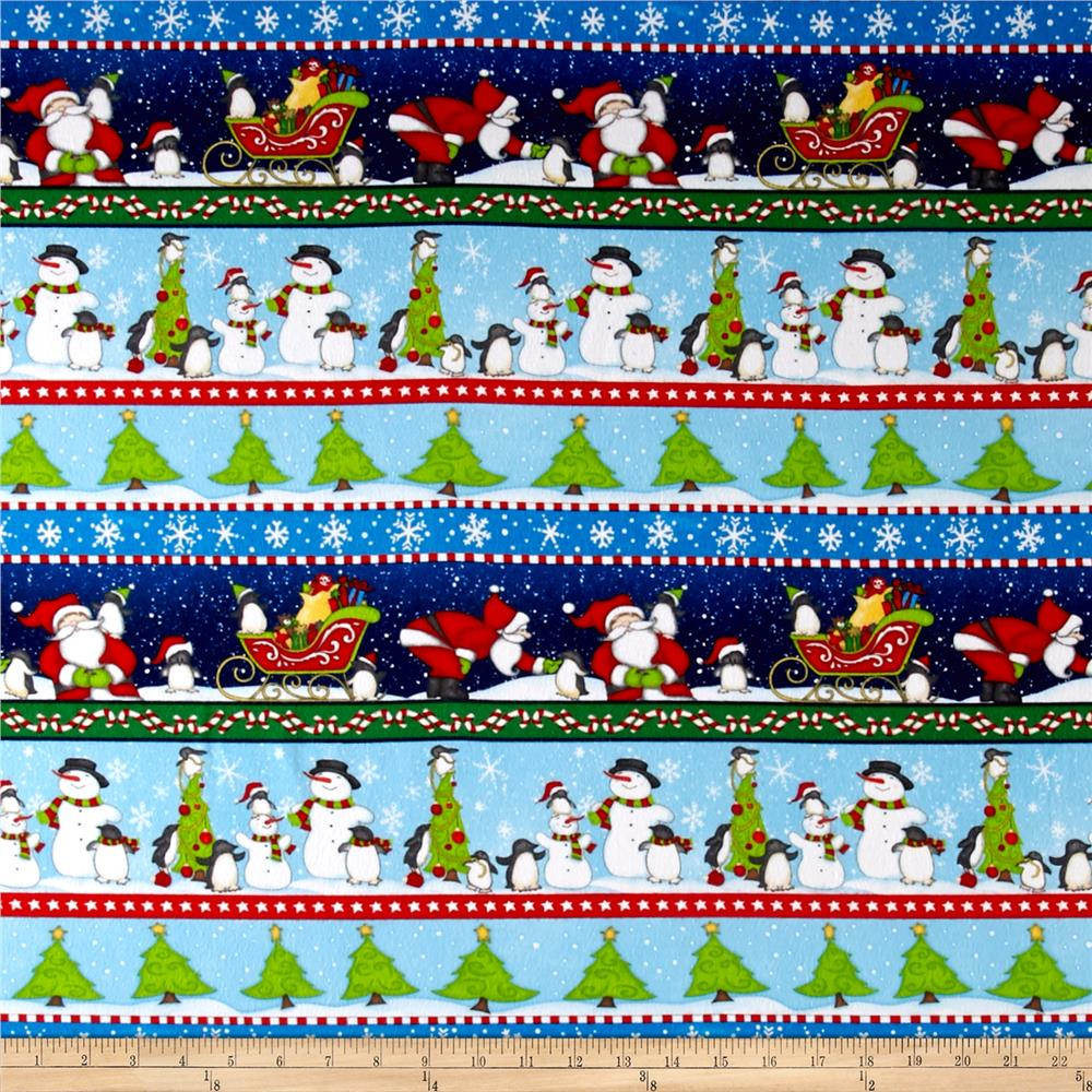 North Pole Greetings Flannel Christmas Stripe Blue Fabric By The Yard