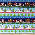 North Pole Greetings Flannel Christmas Stripe Blue