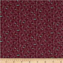 Moda Print Charming Geometric Boxes Dark Berry