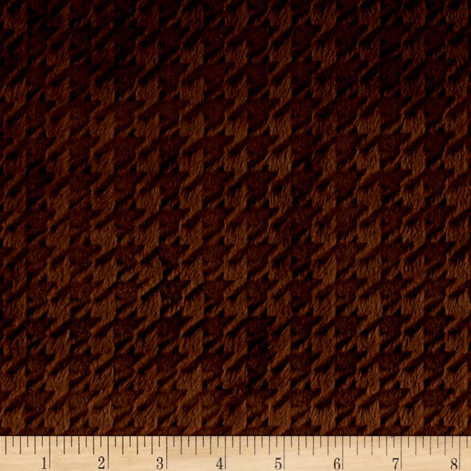 Minky Embossed Houndstooth Brown