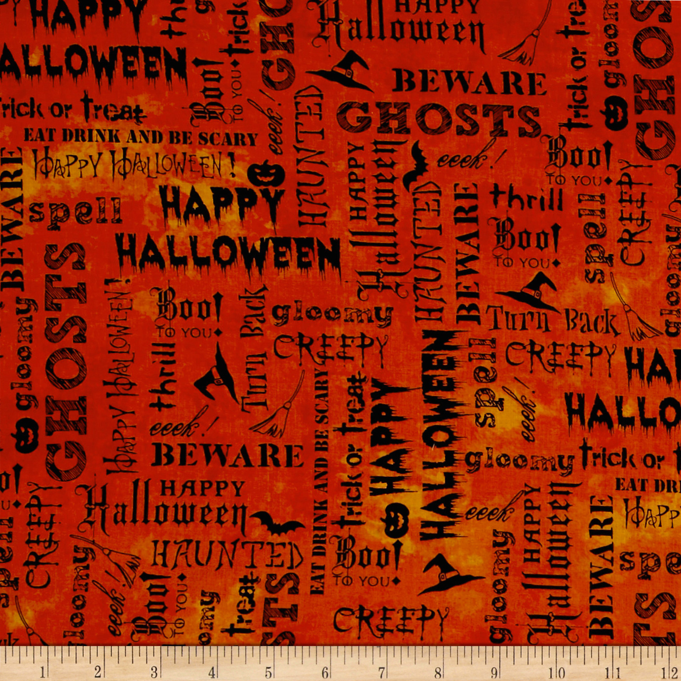 Image of Eat Drink & Be Scary Words Orange Fabric