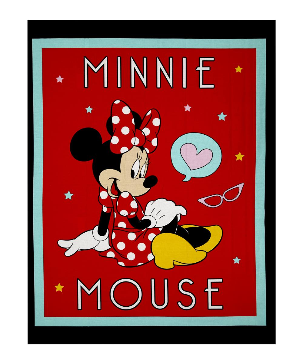 Disney Minnie Traditional Minnie Mouse 36'' Panel Black Fabric By The Yard