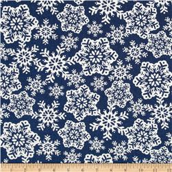 Moda Be Jolly Falling Snowflakes Midnight Blue