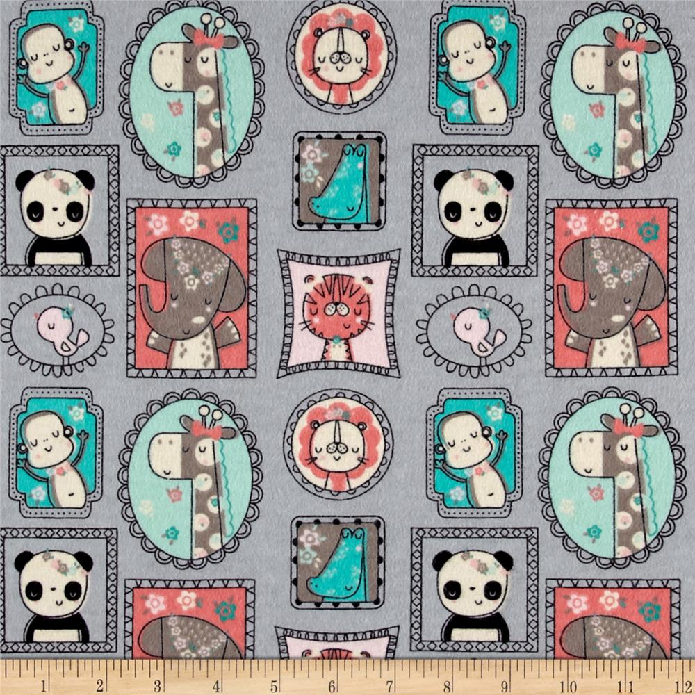 Flannel jungle frames grey discount designer fabric for Fabric picture frames