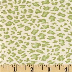 Leopard Cotton Duck Ivory/New Green