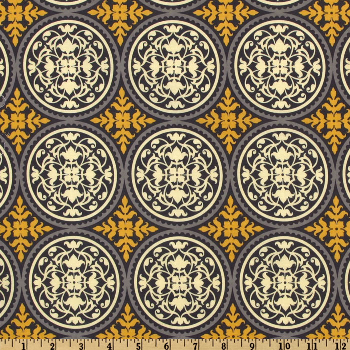 Aviary 2 Scrollwork Granite Fabric