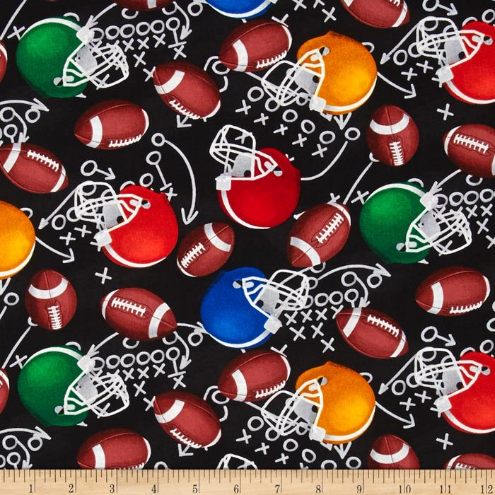Timeless Treasures Football Motifs Black Fabric By The Yard