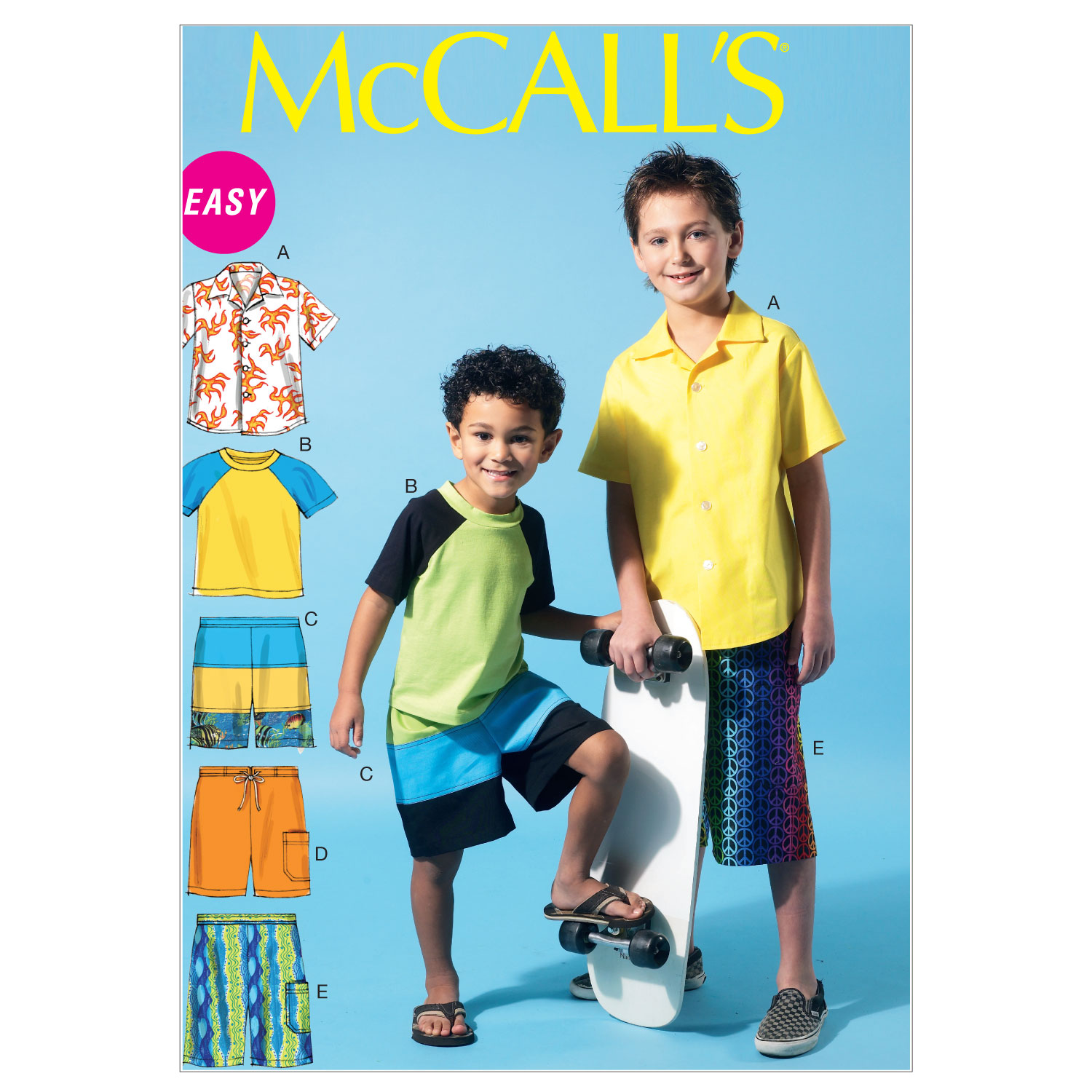 Image of McCall's Children's/Boys' Shirt Top and Shorts Pattern M6548 Size CCE