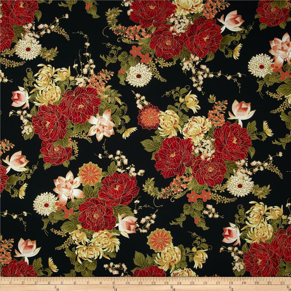Timeless Treasures Imperial Garden Metallic Large Floral Black