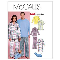McCall's Misses'/Men's/Teen Boys' Tops, Nightshirt, Pants and Sweatsuit For Dog Pattern M5992 Size 0Y0