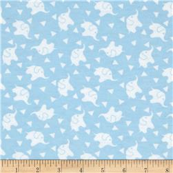 Dreamland Flannel Elephant Confetti  Dreamy Blue