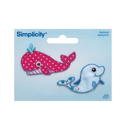 Simplicity Iron On Applique Whale and Dolphin 2/Pkg