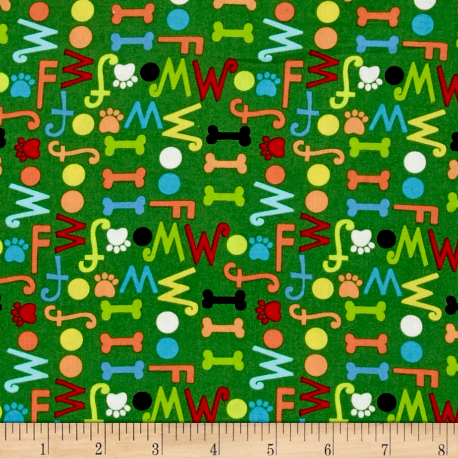 Dog's World Words Dark Green Fabric