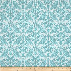 Riley Blake Medium Damask White/Aqua Fabric