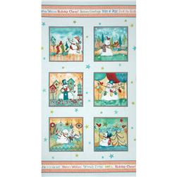 Warm Wishes Snowman Panel Aqua