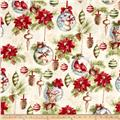 Woodland Holiday Ornaments & Flowers Cream