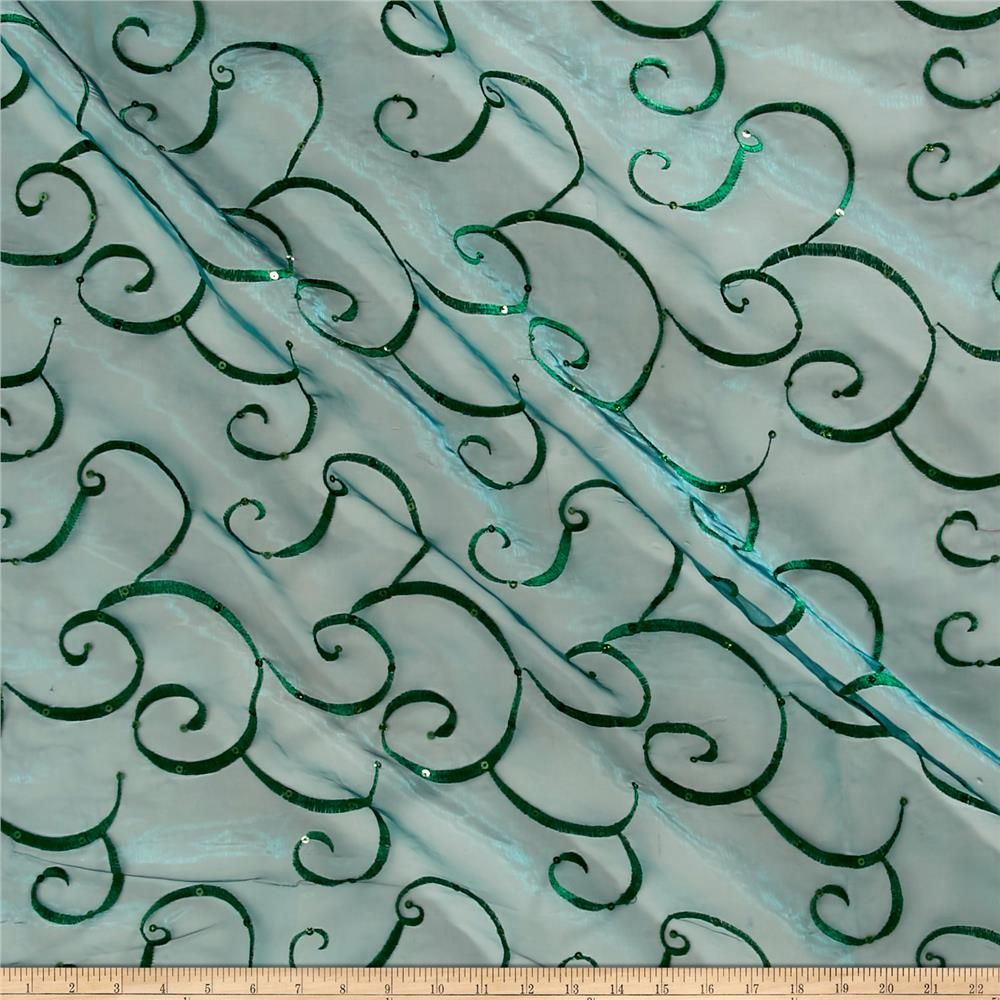 Embroidered Sequin Organza Green