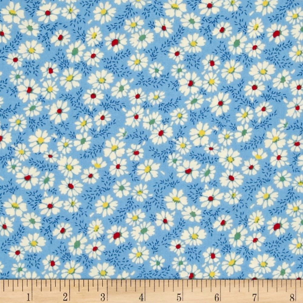 Summer Days Daisies Blue Fabric By The Yard