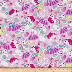 Timeless Treasures Cats, Unicorns & Rainbows Pink