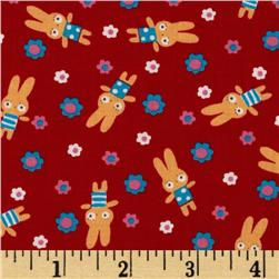 Tiny Prints Tossed Floral & Bunnies Red