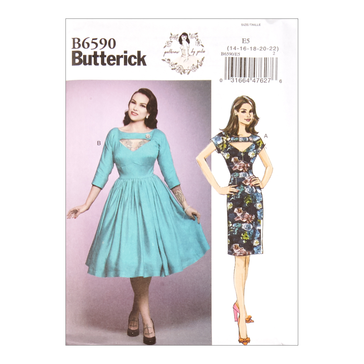 1950s Sewing Patterns | Dresses, Skirts, Tops, Mens Butterick B6590 Patterns by Gertie Misses Dress E5 Sizes 14-22 $11.97 AT vintagedancer.com