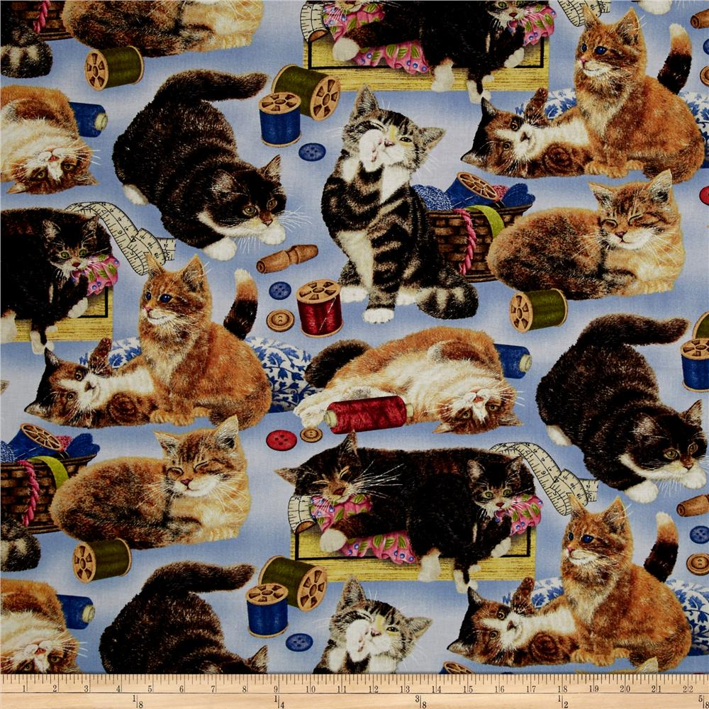 Sew curious cats and sewing notions blue discount for Cheap sewing fabric