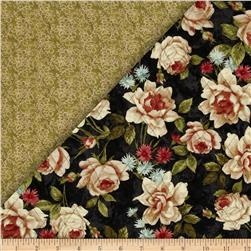Bella Double Sided Quilted Roses Black/Green Fabric