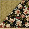 Bella Double Sided Quilted Roses Black/Green
