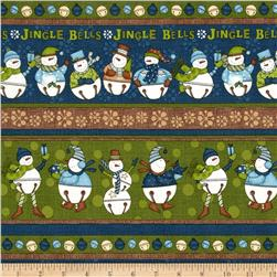 Jingle Bell Snowmen Repeating Stripe Multi