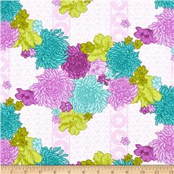Purple Haze Large Floral Damask Purple/White