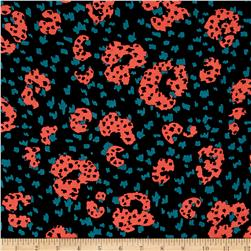 Designer Rayon Challis Different Animal Black/Coral/Teal
