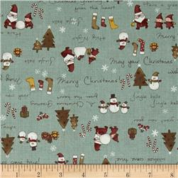 Lecien Merry Taupe Christmas Words Green