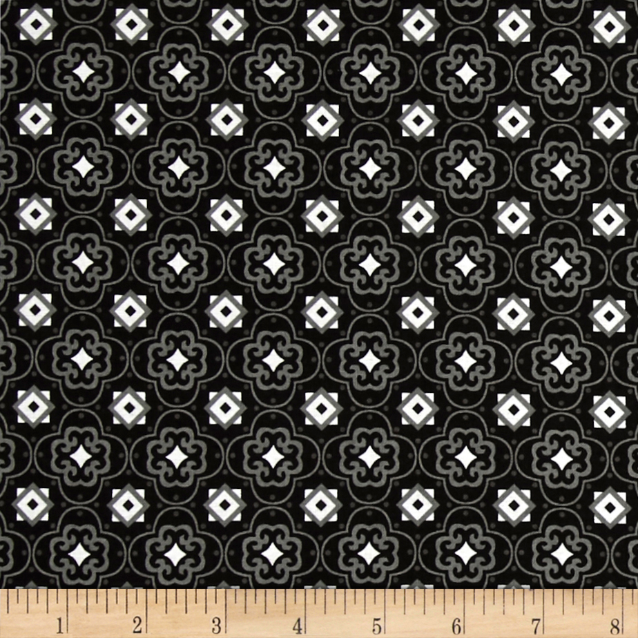 Fade to Black Squares and Stars Black Fabric by Exclusively Quilters in USA