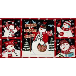 Moda Be Jolly Snowman Panel Berry Red