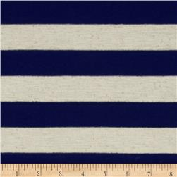 Yarn Dyed Jersey Knit Stripes Navy/Oat