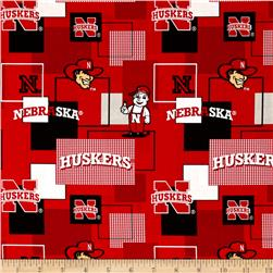 Collegiate Cotton Broadcloth University Of Nebraska Block Print Red