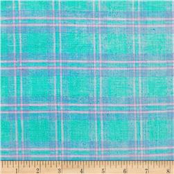 Metallic Shot Cotton Plaid Blue/Pink