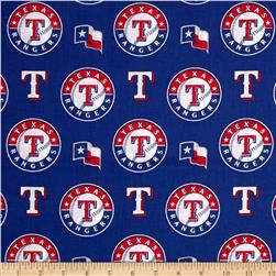 MLB Cotton Broadcloth Texas Rangers Red/Blue Fabric
