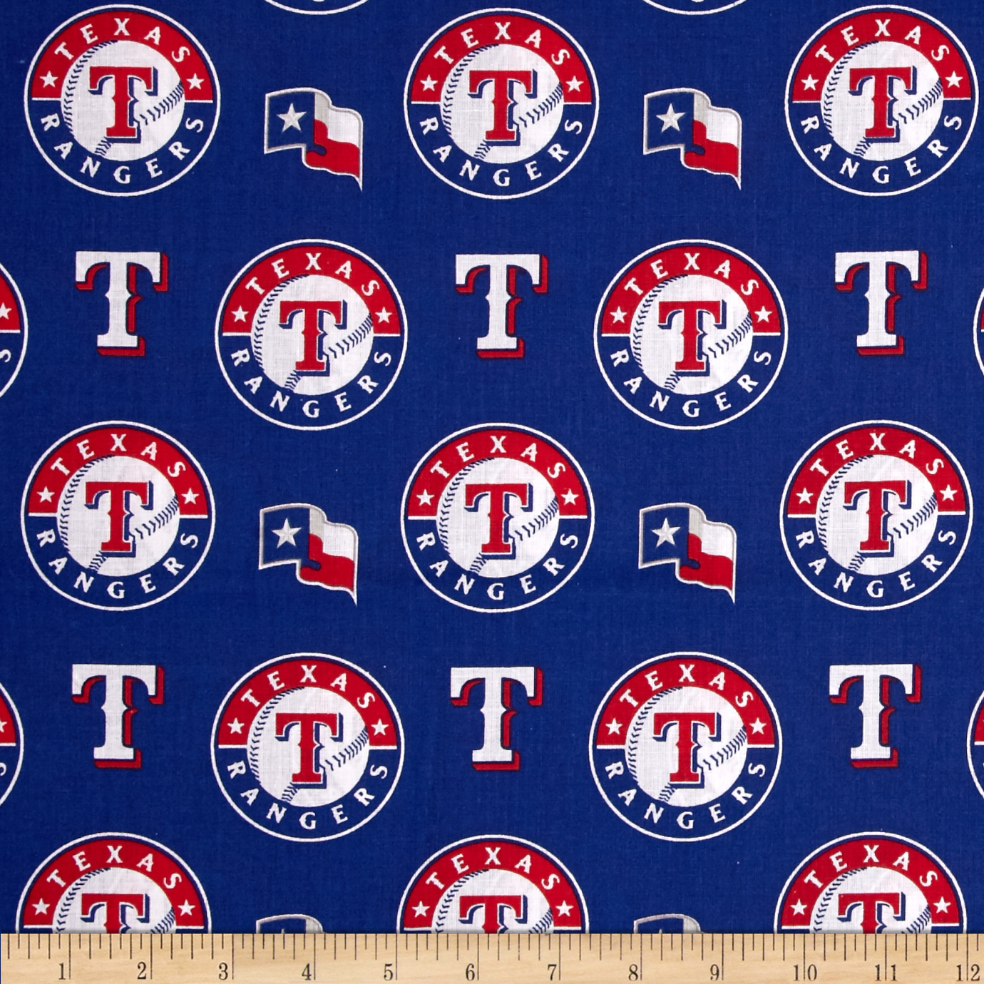 MLB Cotton Broadcloth Texas Rangers Red/Blue Fabric by Fabric Traditions in USA