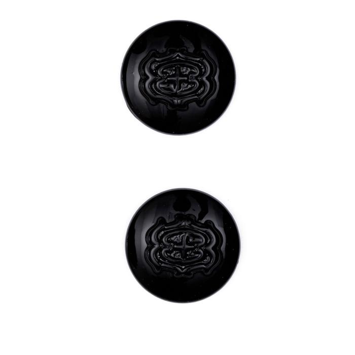 "Metal Button 7/8"" Vendome Black"