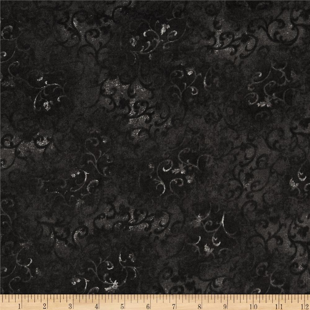 "108"" Wide Essentials Flannel Quilt Backing Scroll Black"