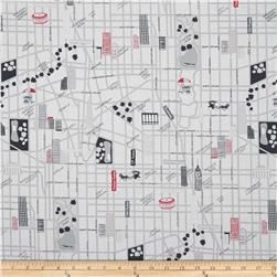 The Big Apple City Street Grey/Red Fabric