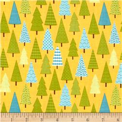 Riley Blake Happy Camper Trees Yellow
