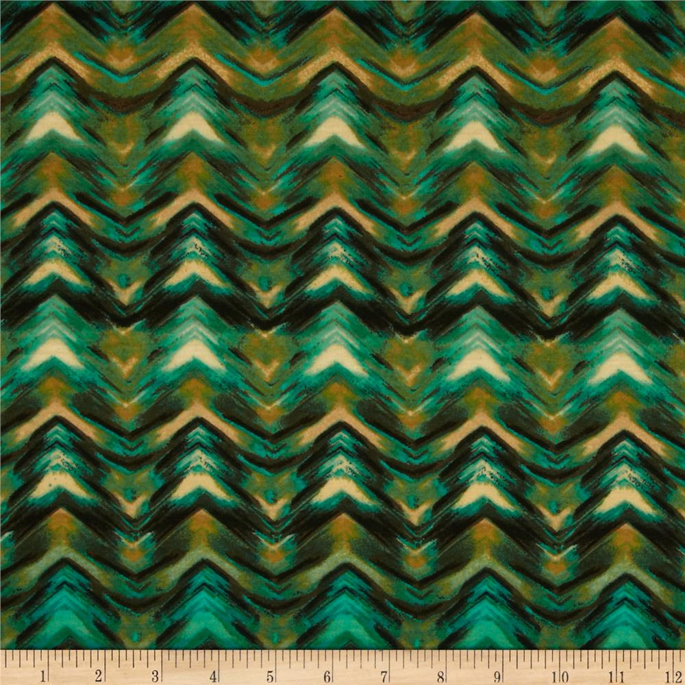 Stretch Jersey Knit Chevron Illusion Green/Yellow