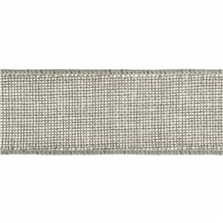 "1 1/2"" Faux Burlap Wired Ribbon Grey"